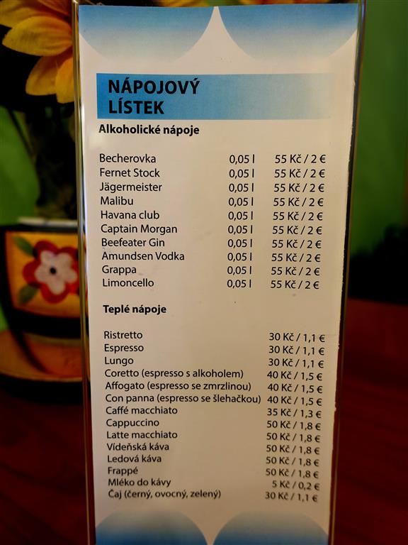ceník baru v hotelu rok 2014