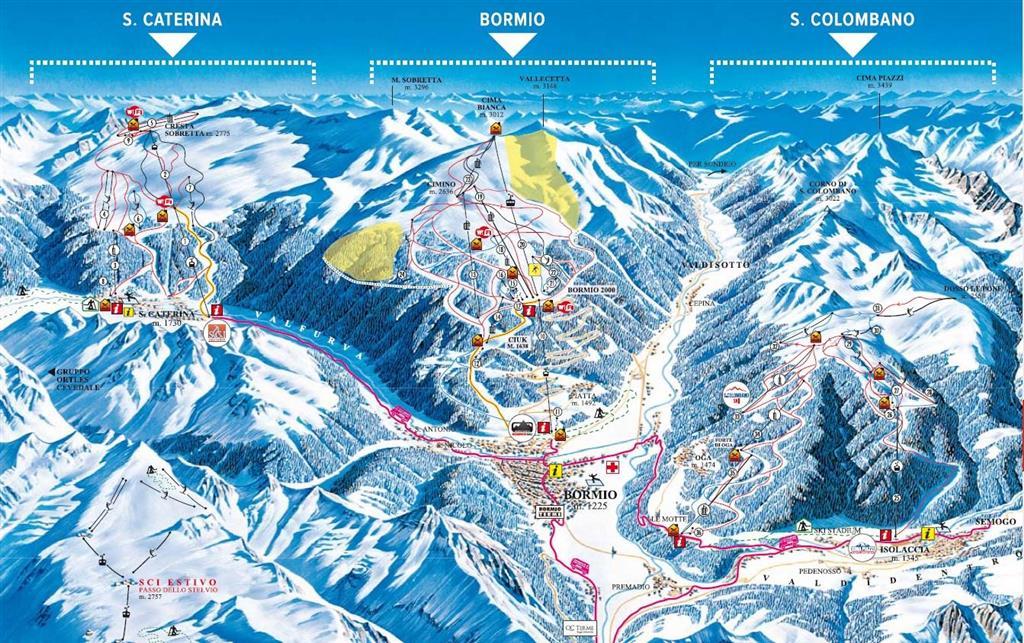 Skipas pro oblast Bormio, Santa Caterina a San Collombano Vám umožňuje lyžovat až na 105 km sjezdovek!