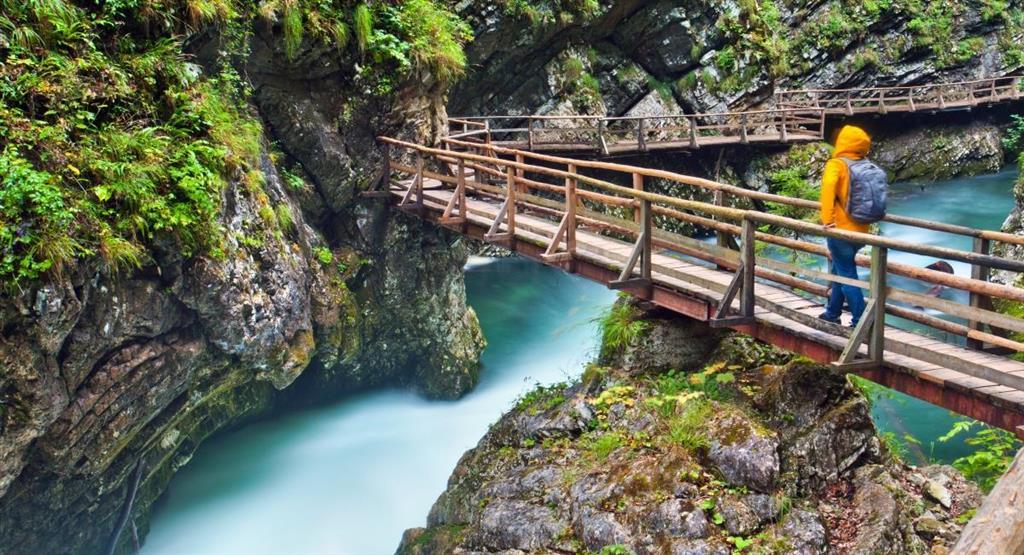 Jedna z největších přírodních pozoruhodností Slovinska, soutěska Vintgar