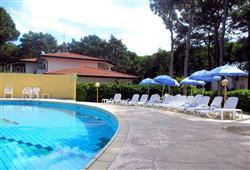 Hotel má klientům k dispozici bazén s lehátky a slunečníky.