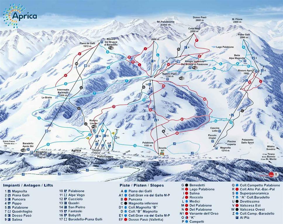 Středisko nabízí 28 km modrých sjezdovek