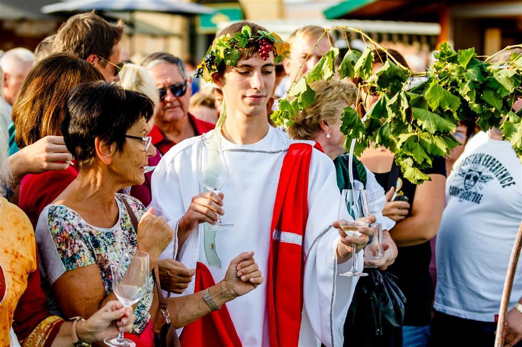 Již tradičně přijíždí i bůh vína Bakchus, který rozlévá mladé víno. Místní odrůdy se výrazně neliší od těch moravských
