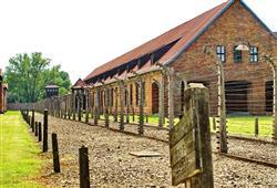 Osvětim I. je postavena z cihlových budov, před válkou zde totiž sídlilo armádní jezdectvo