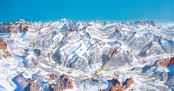 Val di Fassa je nejnavštěvovanější středisko v údolí Dolomit.